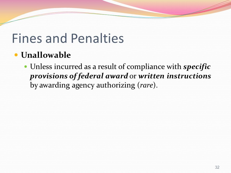 Fines and Penalties Unallowable