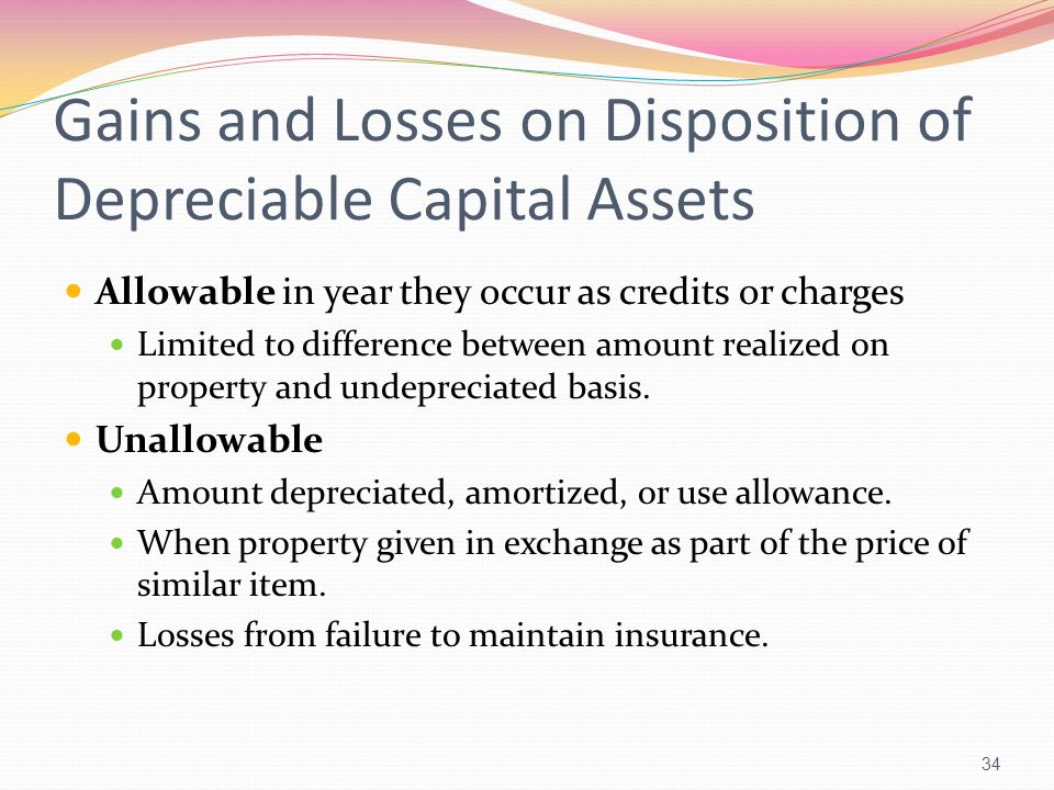 Gains and Losses on Disposition of Depreciable Capital Assets