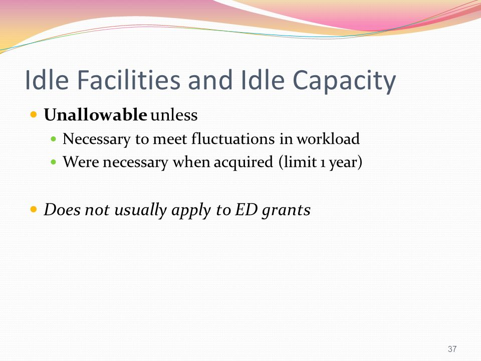 Idle Facilities and Idle Capacity