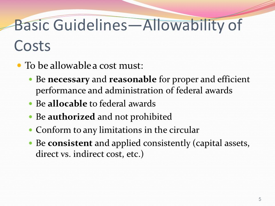 Basic Guidelines—Allowability of Costs