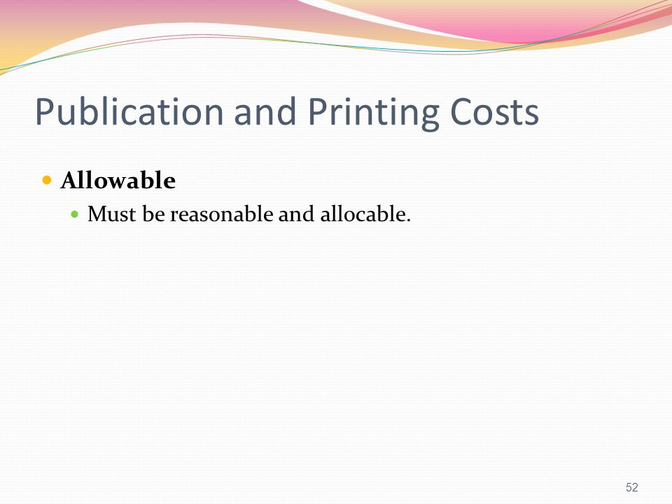 Publication and Printing Costs