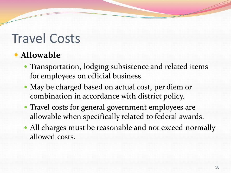 Travel Costs Allowable