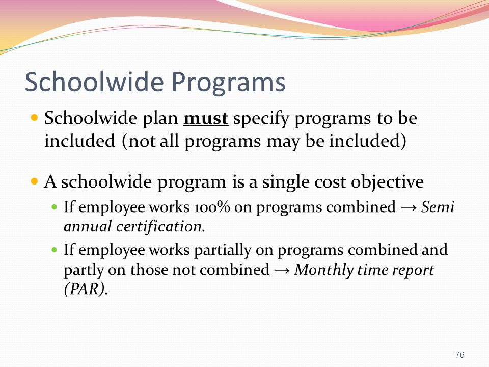 Schoolwide Programs Schoolwide plan must specify programs to be included (not all programs may be included)
