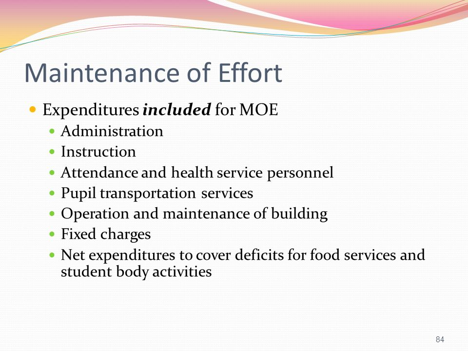 Maintenance of Effort Expenditures included for MOE Administration