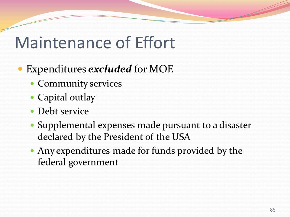 Maintenance of Effort Expenditures excluded for MOE Community services