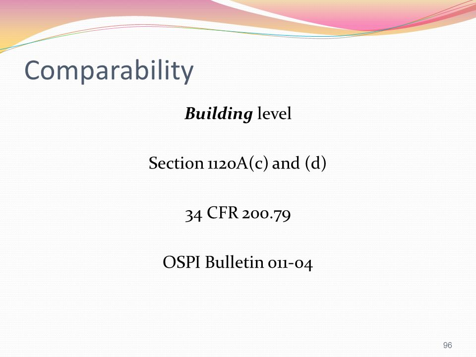 Comparability Building level Section 1120A(c) and (d) 34 CFR 200.79 OSPI Bulletin 011-04