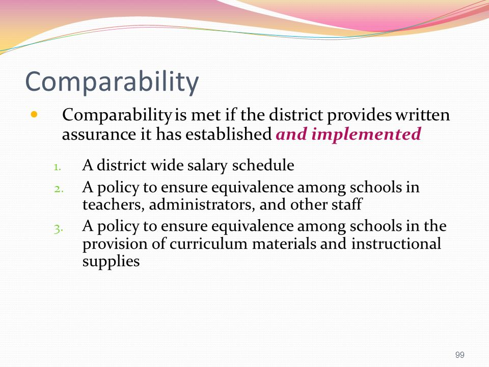 Comparability Comparability is met if the district provides written assurance it has established and implemented.