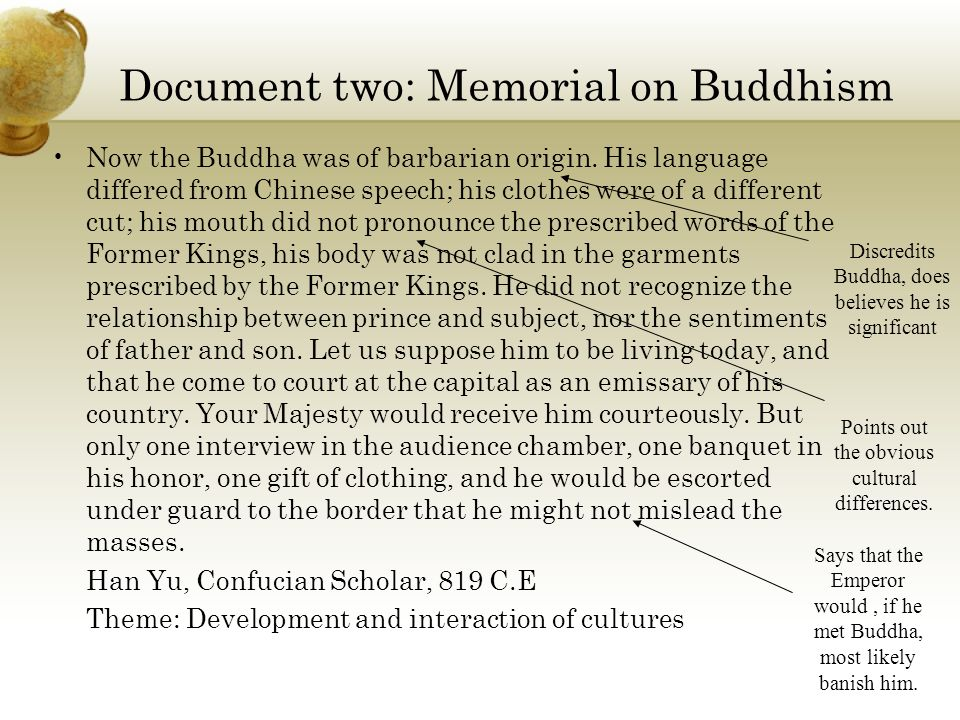 Document two: Memorial on Buddhism