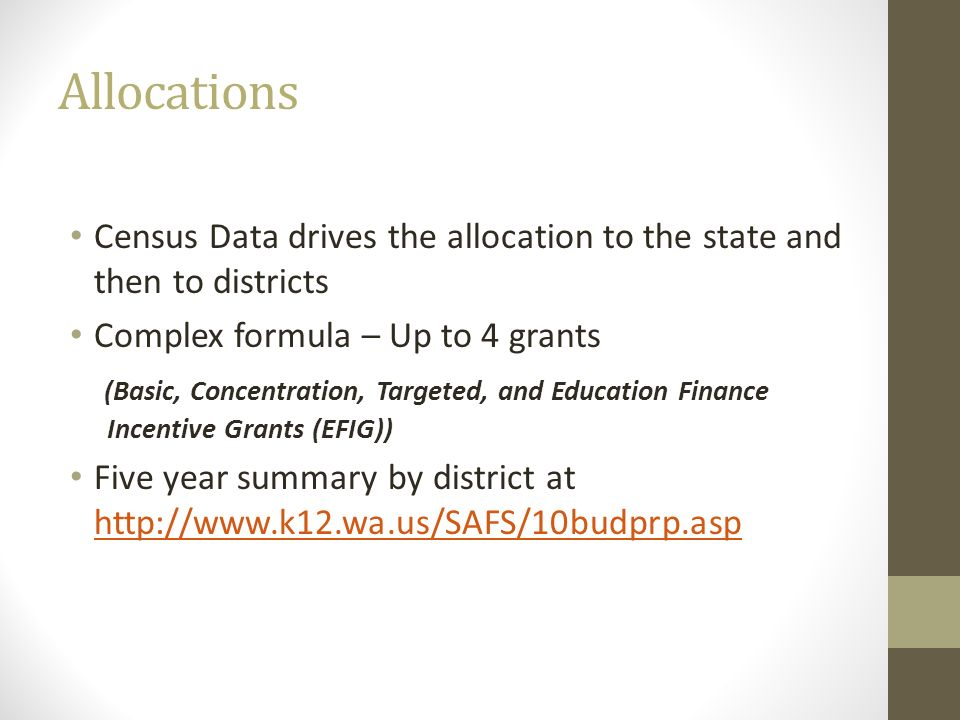 Allocations Census Data drives the allocation to the state and then to districts. Complex formula – Up to 4 grants.