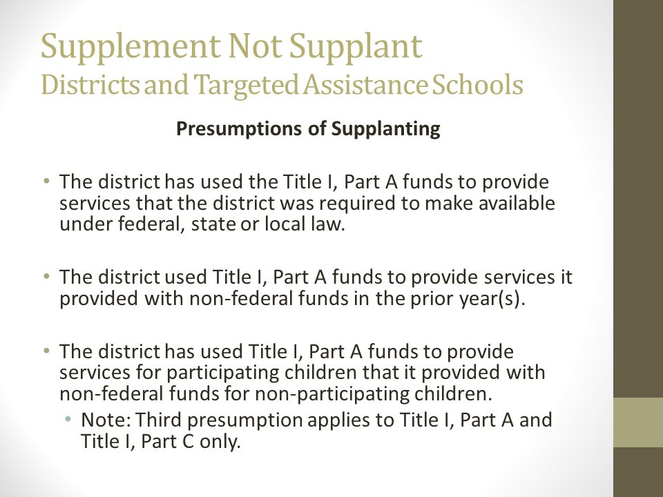 Supplement Not Supplant Districts and Targeted Assistance Schools