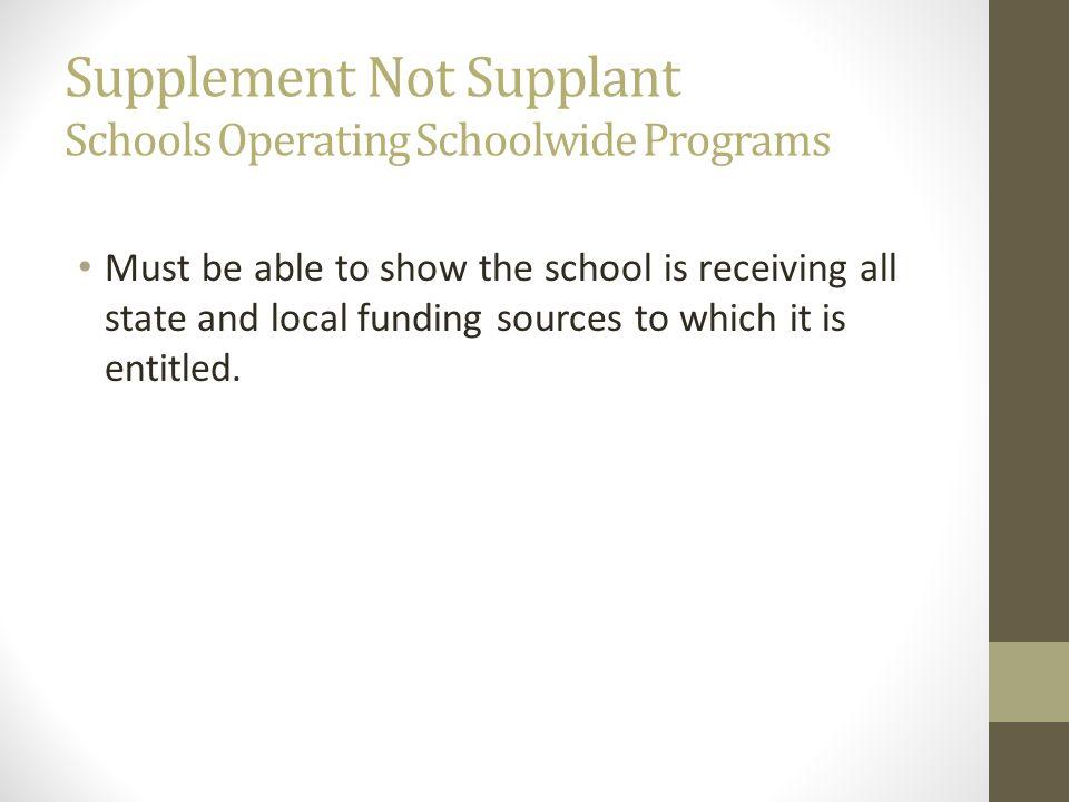 Supplement Not Supplant Schools Operating Schoolwide Programs