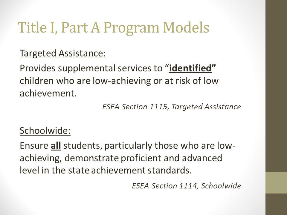 Title I, Part A Program Models