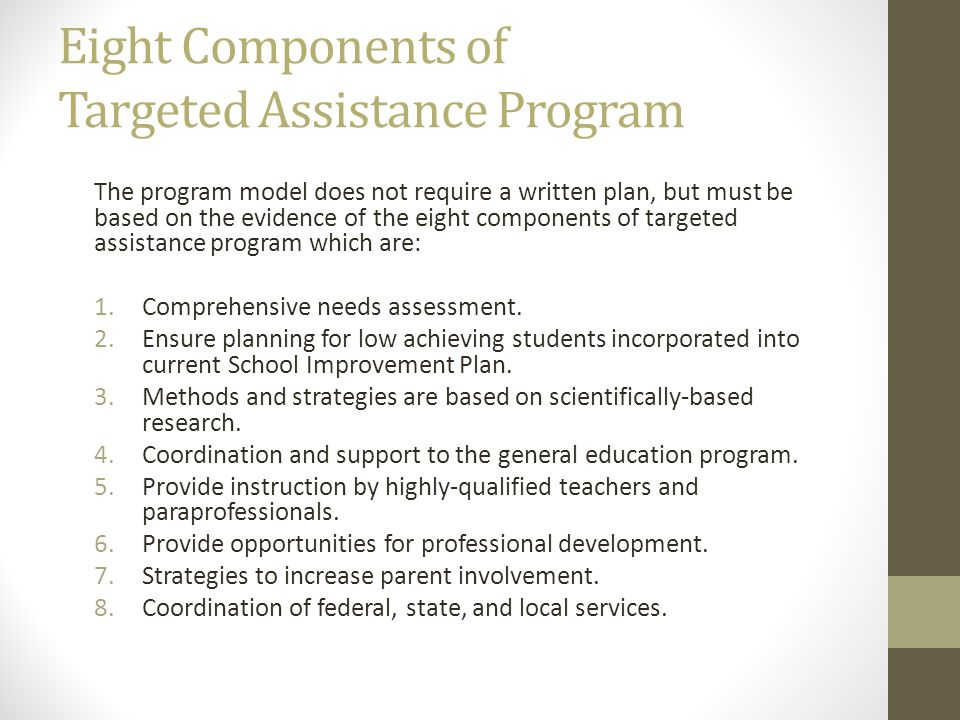 Eight Components of Targeted Assistance Program