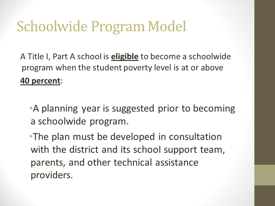 Schoolwide Program Model