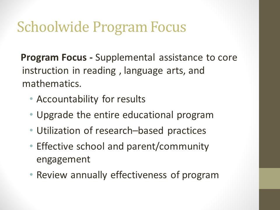 Schoolwide Program Focus