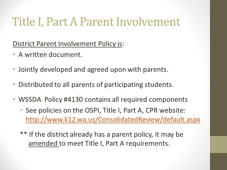 Title I, Part A Parent Involvement