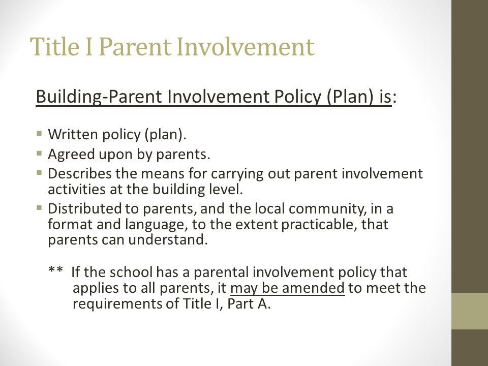 Title I Parent Involvement