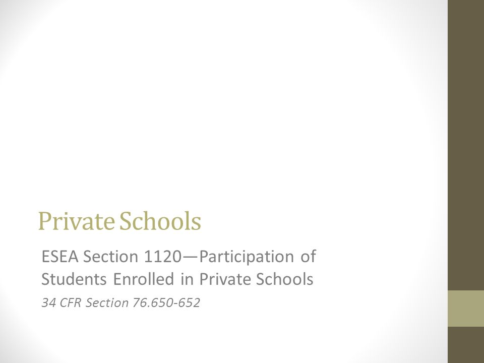 Private Schools ESEA Section 1120—Participation of Students Enrolled in Private Schools.