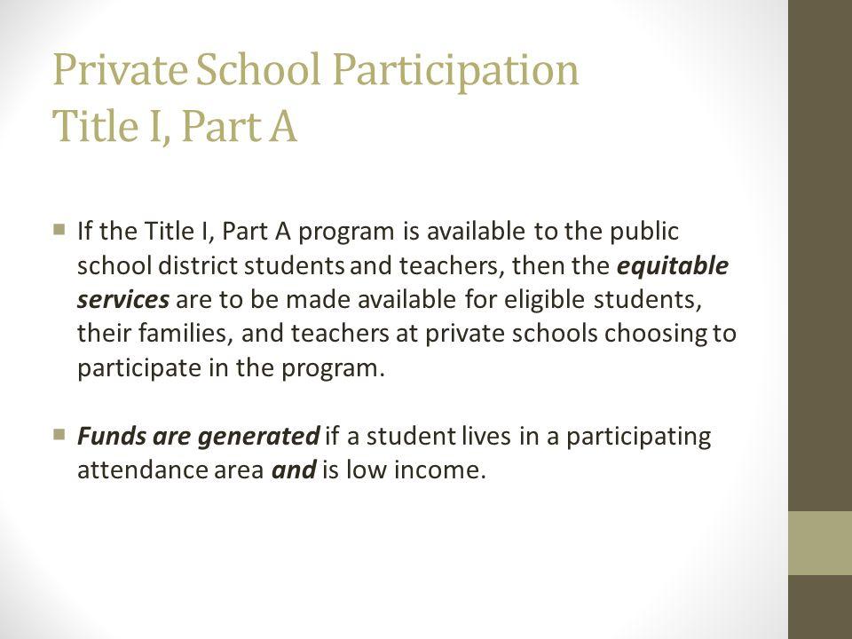 Private School Participation Title I, Part A