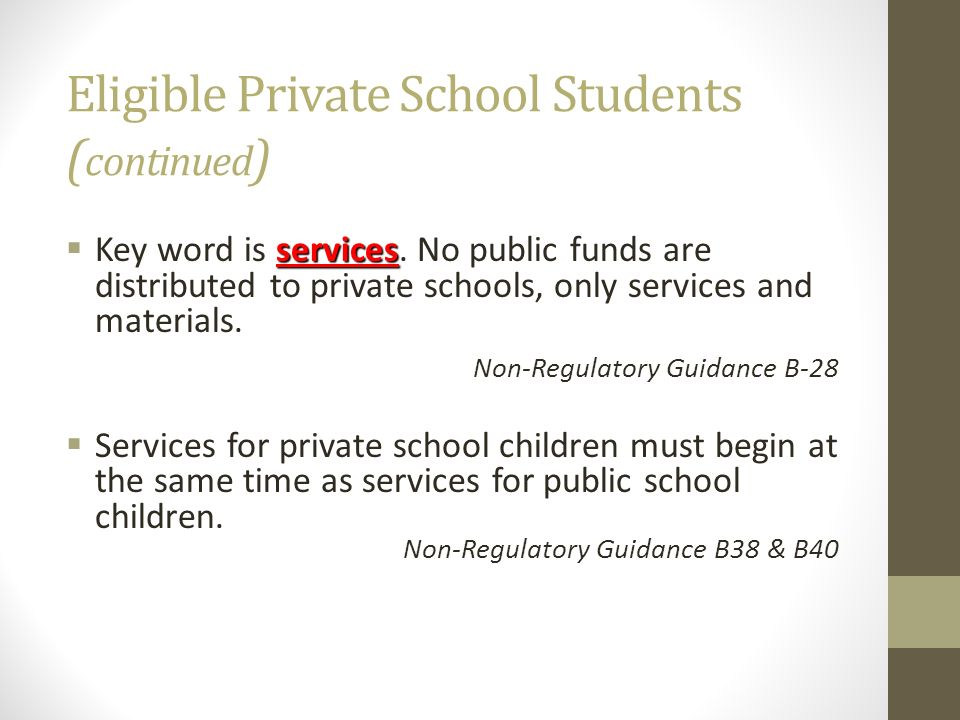 Eligible Private School Students (continued)