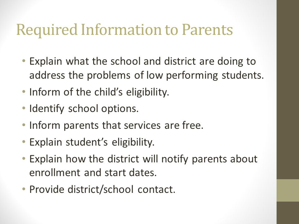 Required Information to Parents
