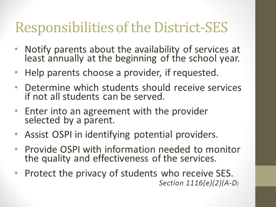 Responsibilities of the District-SES