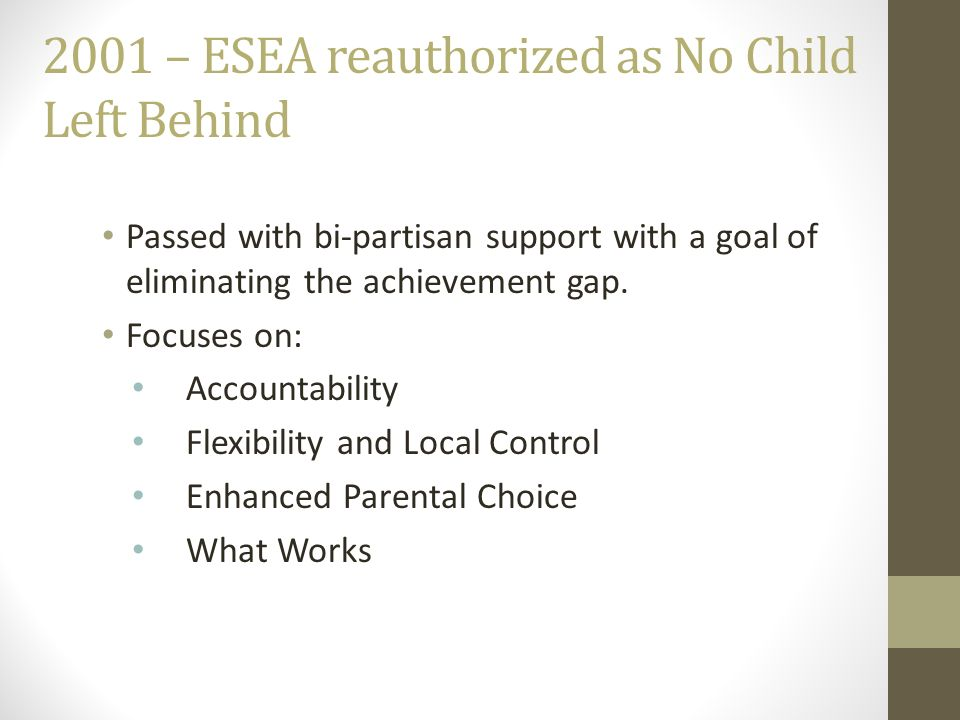 2001 – ESEA reauthorized as No Child Left Behind