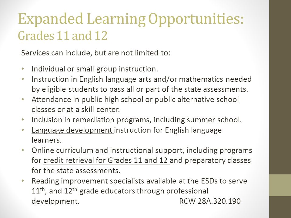 Expanded Learning Opportunities: Grades 11 and 12