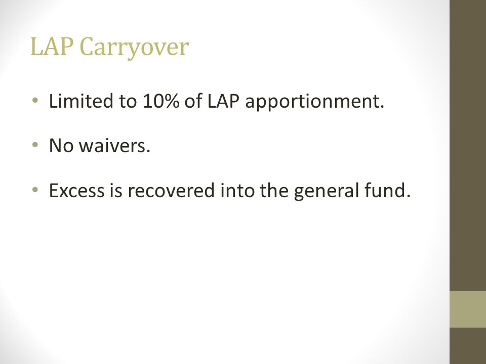 LAP Carryover Limited to 10% of LAP apportionment. No waivers.