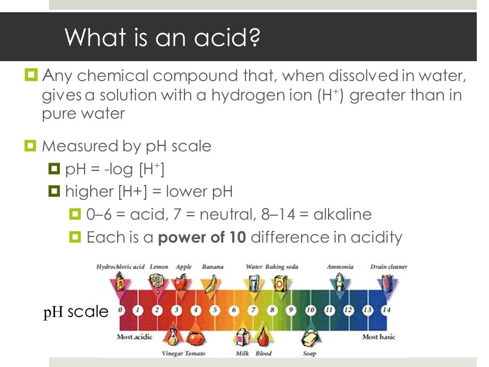 What is an acid Any chemical compound that, when dissolved in water, gives a solution with a hydrogen ion (H+) greater than in pure water.