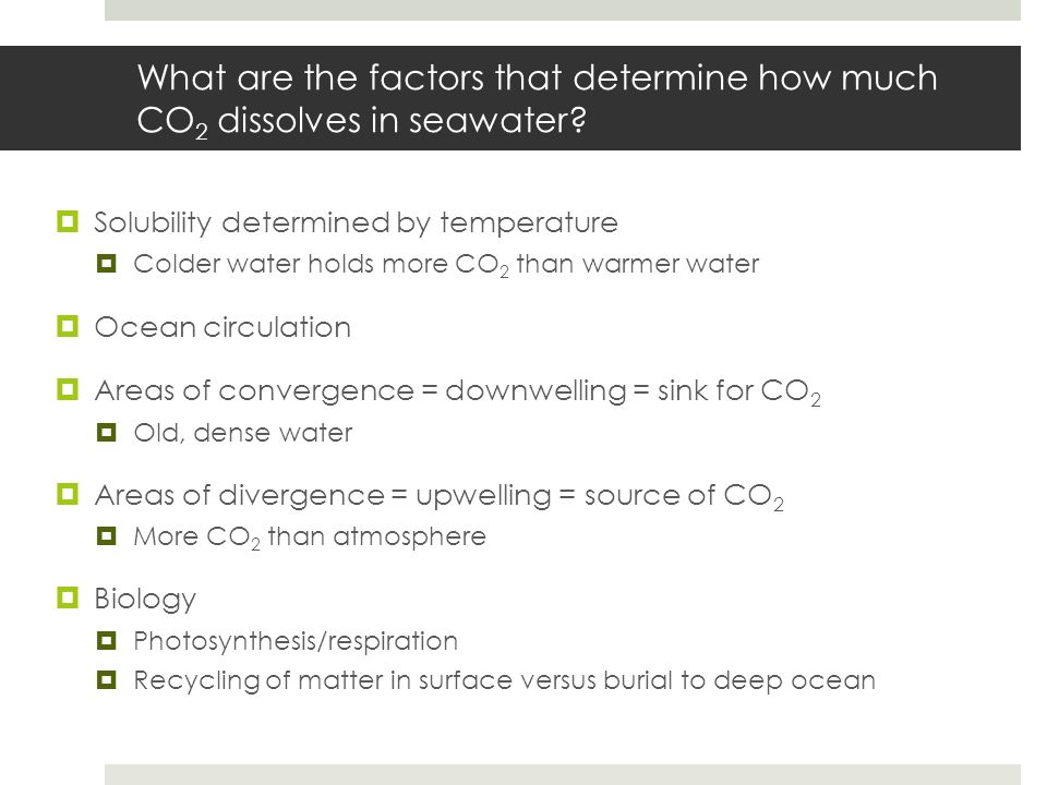 What are the factors that determine how much CO2 dissolves in seawater