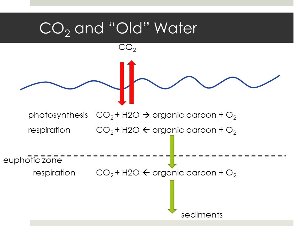 CO2 and Old Water CO2 photosynthesis CO2 + H2O  organic carbon + O2