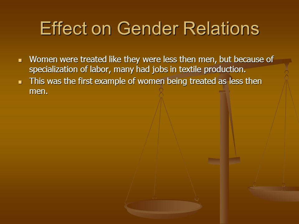 Effect on Gender Relations