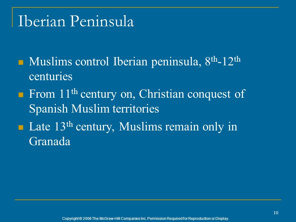 Iberian Peninsula Muslims control Iberian peninsula, 8th-12th centuries. From 11th century on, Christian conquest of Spanish Muslim territories.