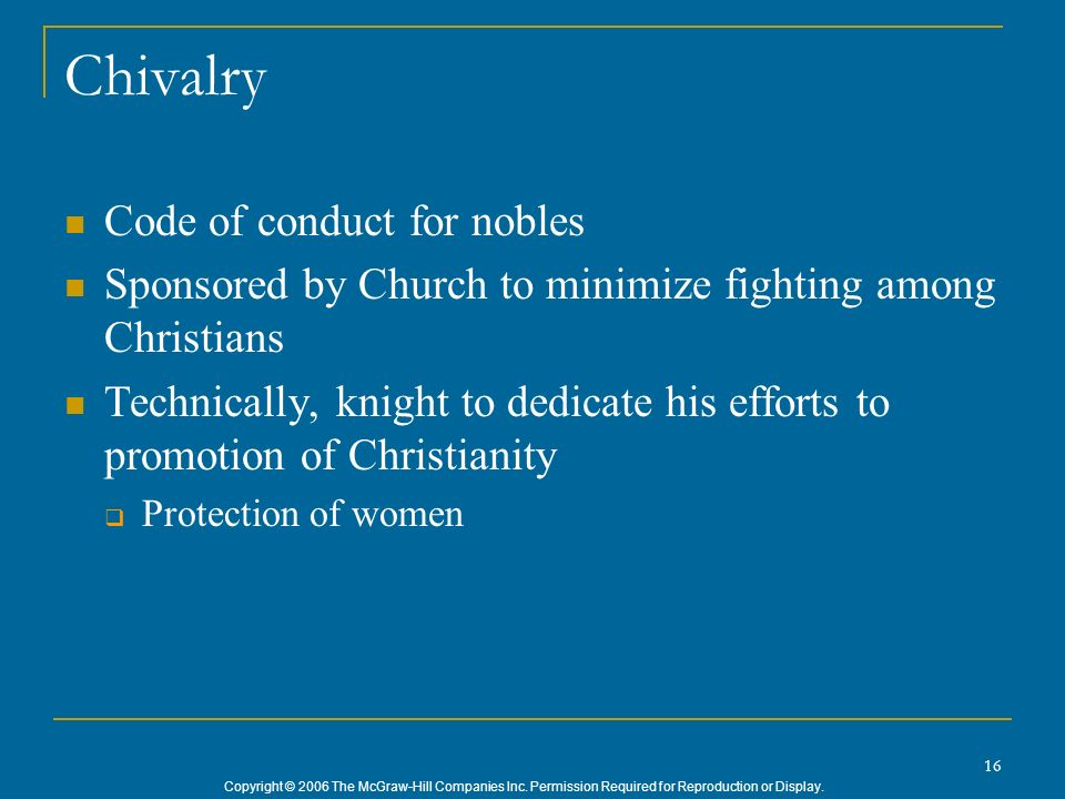 Chivalry Code of conduct for nobles