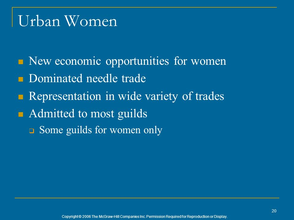 Urban Women New economic opportunities for women