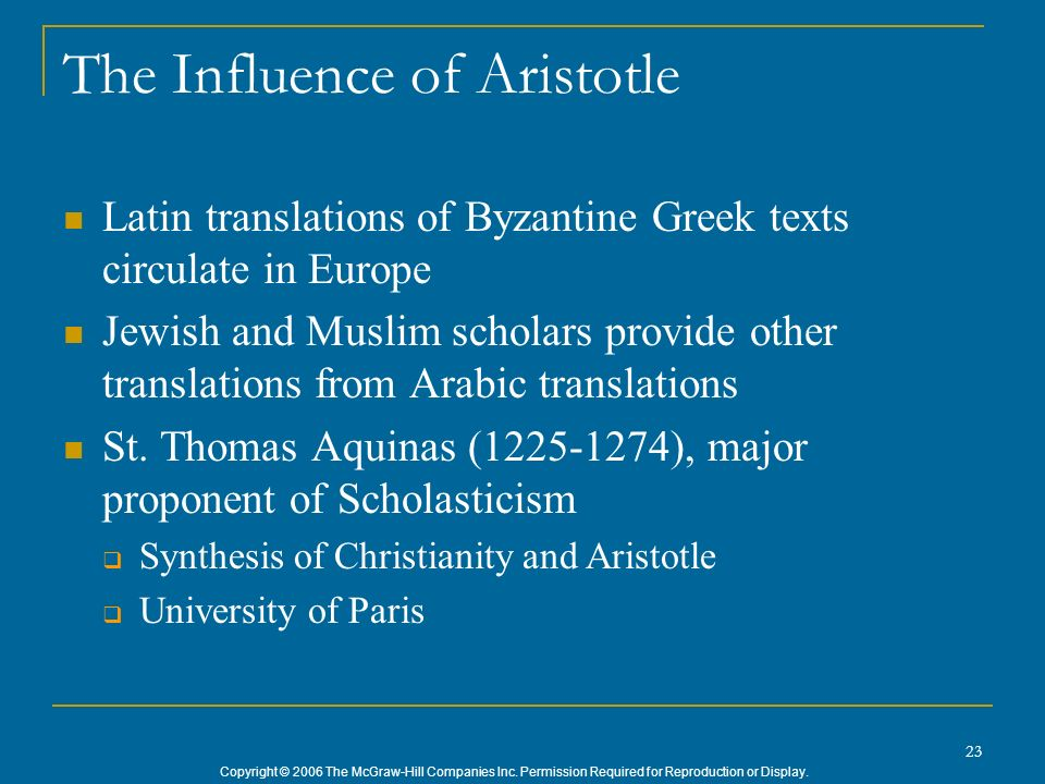 The Influence of Aristotle