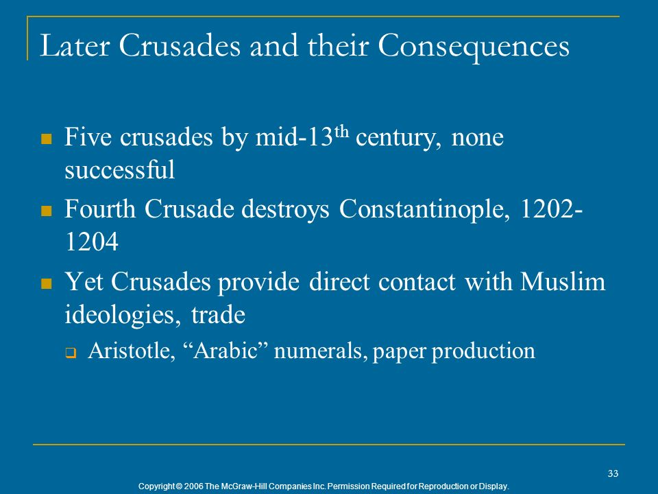 Later Crusades and their Consequences