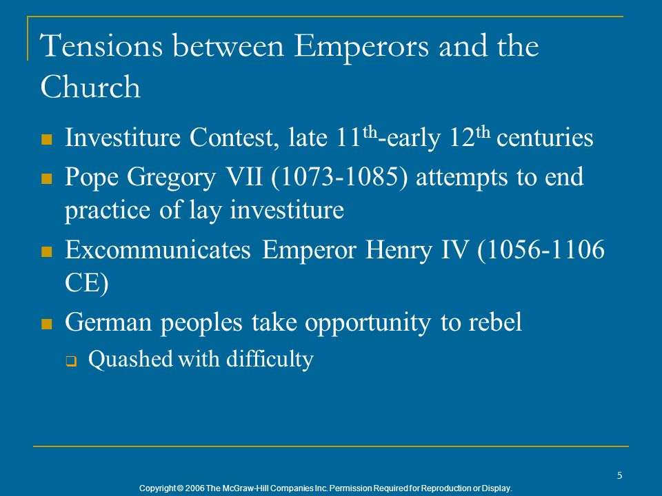 Tensions between Emperors and the Church