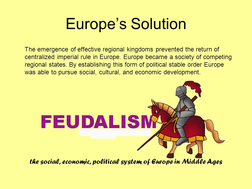 the social, economic, political system of Europe in Middle Ages