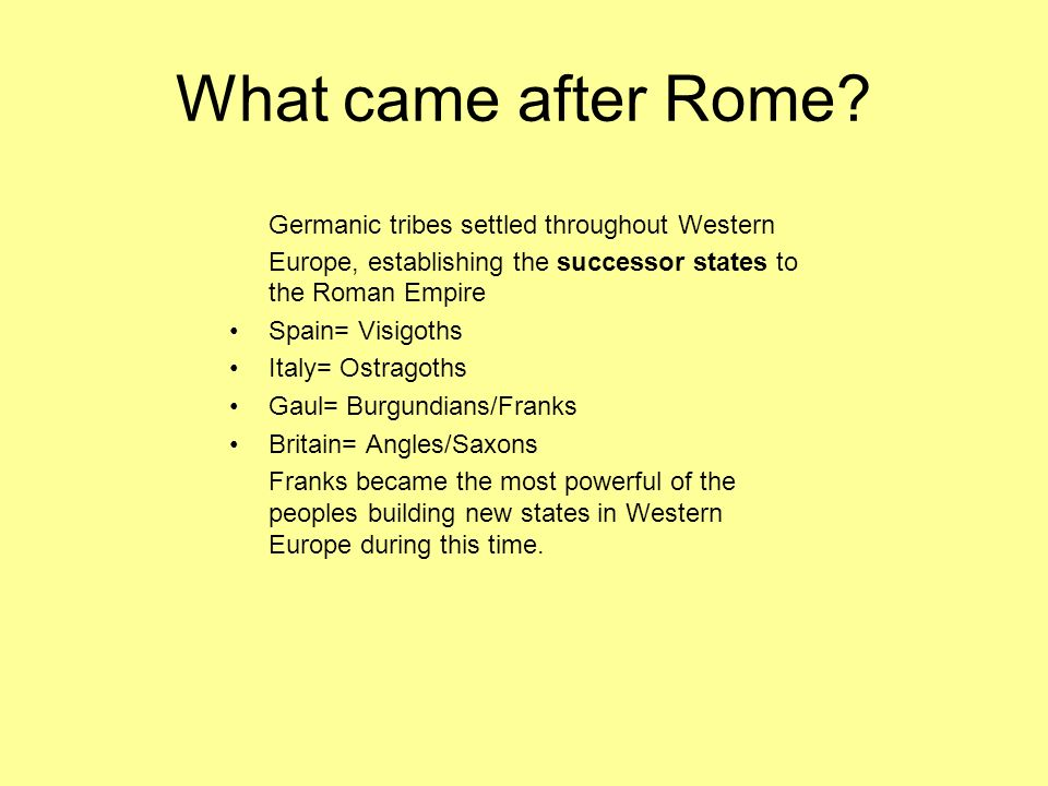 What came after Rome Germanic tribes settled throughout Western Europe, establishing the successor states to the Roman Empire.