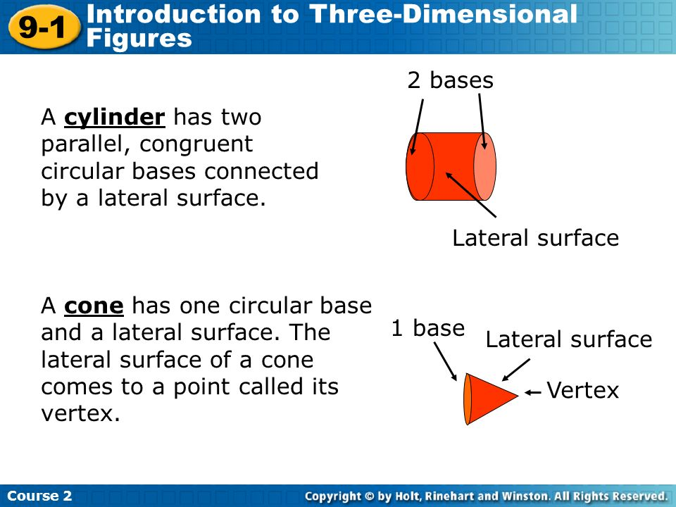 9-1 Introduction to Three-Dimensional Figures 2 bases
