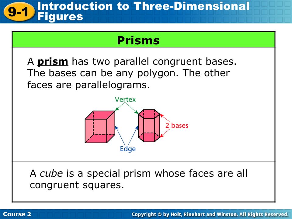 9-1 Introduction to Three-Dimensional Figures Prisms