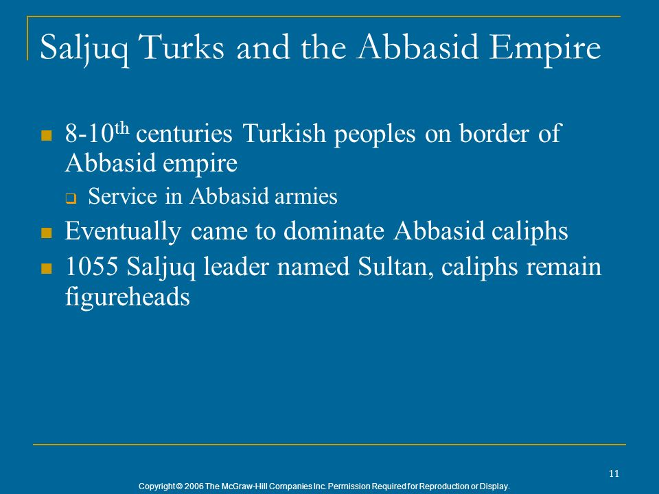 Saljuq Turks and the Abbasid Empire