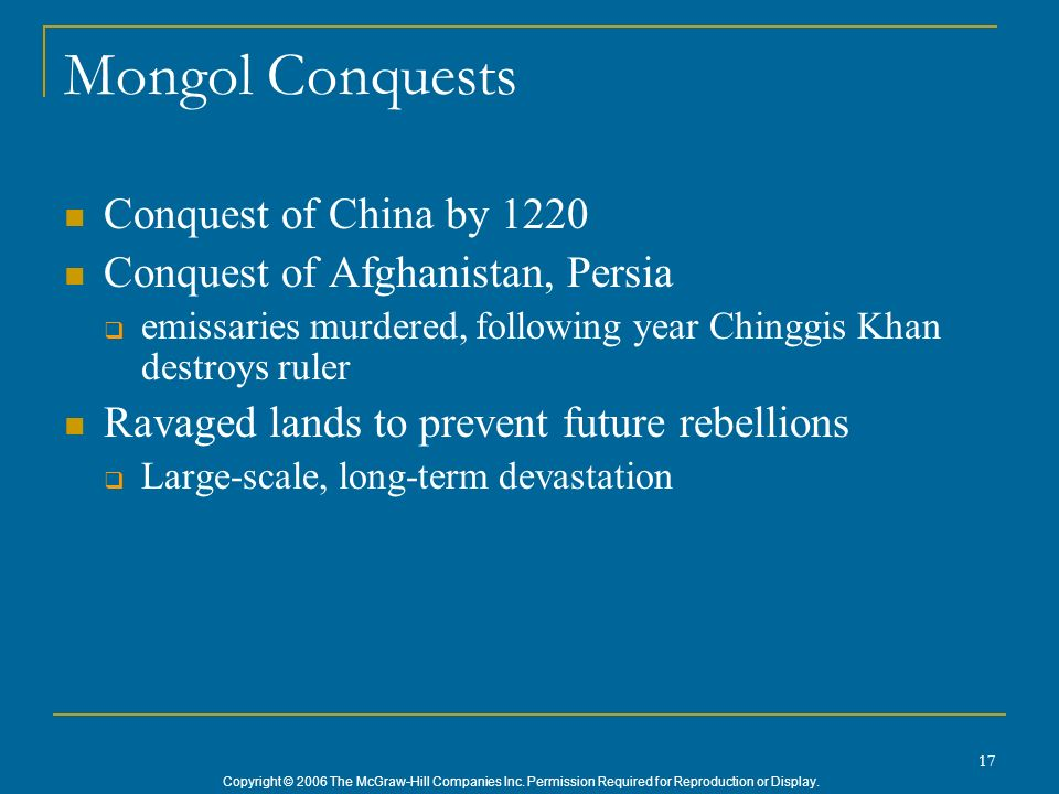 Mongol Conquests Conquest of China by 1220
