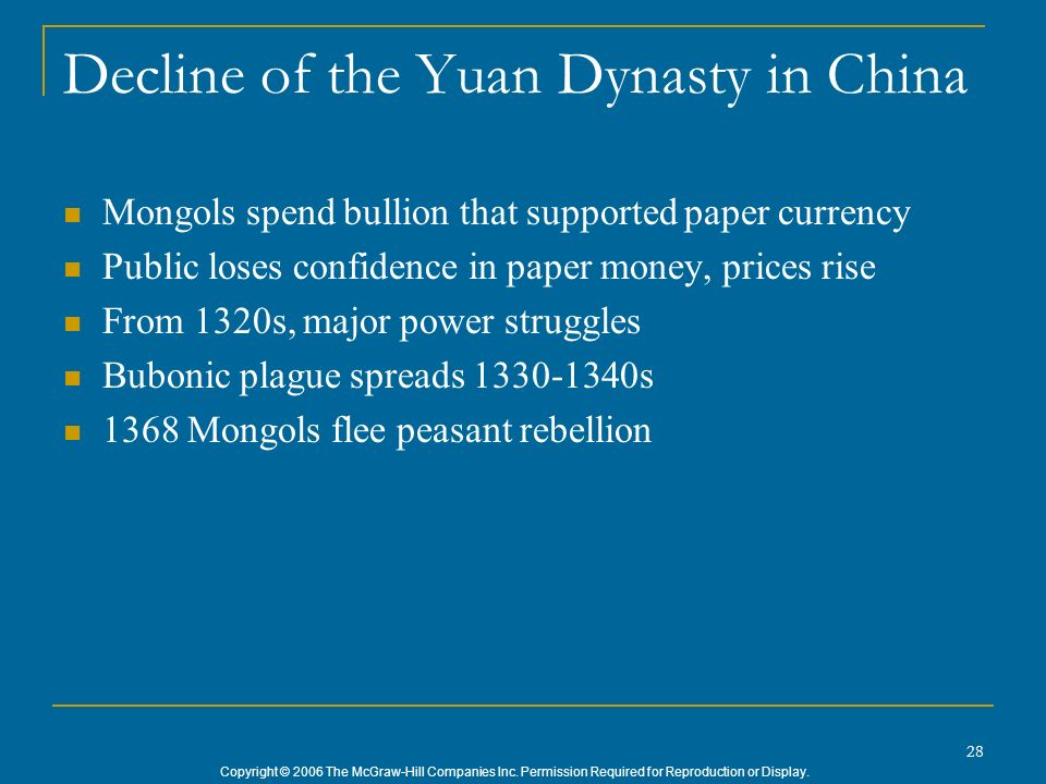 Decline of the Yuan Dynasty in China