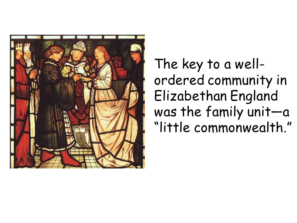 The key to a well-ordered community in Elizabethan England was the family unit—a little commonwealth.