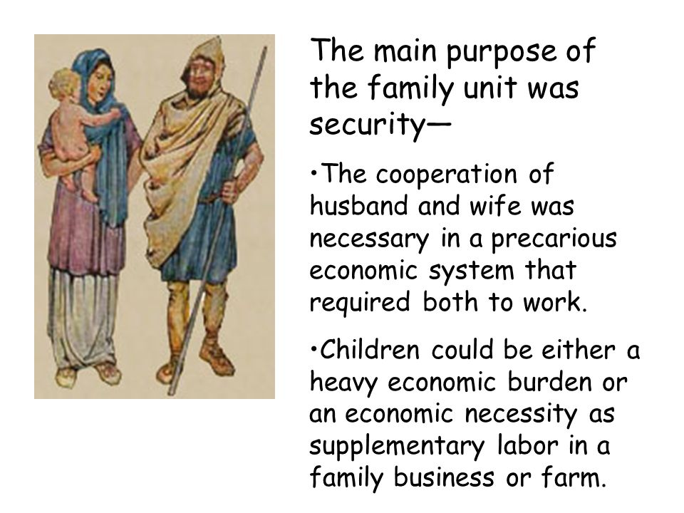 The main purpose of the family unit was security—