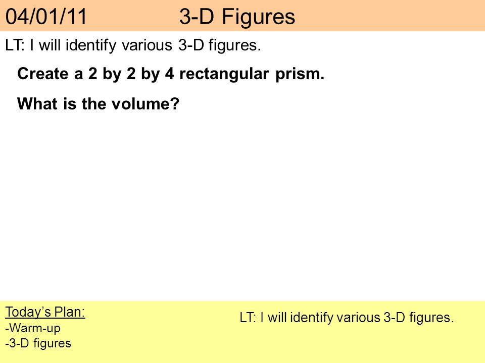 04/01/11 3-D Figures Create a 2 by 2 by 4 rectangular prism.