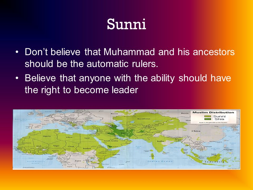 Sunni Don't believe that Muhammad and his ancestors should be the automatic rulers.